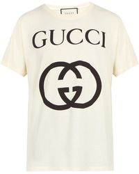 64e3040a8f5 Lyst - Gucci Oversized Greek Print T-shirt in Natural for Men
