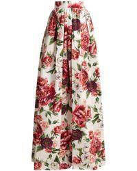 Dolce & Gabbana - Peony And Rose-print Cotton-poplin Skirt - Lyst