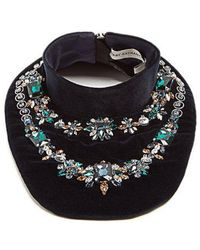 Mary Katrantzou - Crystal Embellished Velvet Bib Necklace - Lyst