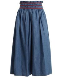 Miu Miu - Smocked-waist Cotton-chambray Skirt - Lyst