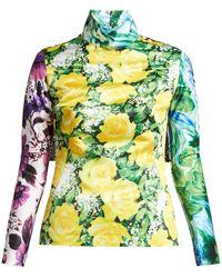 Richard Quinn - Floral And Polka Dot Cape Sleeve Top - Lyst