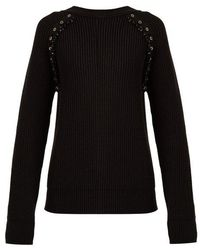 N°21 - Embellished Ribbed-knit Wool Jumper - Lyst