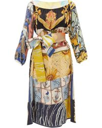 Rianna + Nina - Abstract Print Vintage Silk Midi Dress - Lyst