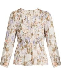 Rebecca Taylor - Penelope Rose-print Silk And Cotton-blend Blouse - Lyst