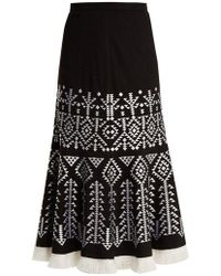 Andrew Gn - Aztec-embroidered Wool-blend Midi Skirt - Lyst