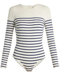 Solid & Striped - The Margot Striped Long-sleeved Swimsuit - Lyst
