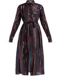 The Attico Metallic Striped Fil Coupé Shirtdress - Black