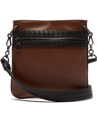 Bottega Veneta - Intrecciato Woven Leather Cross Body Bag - Lyst