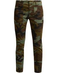 Nili Lotan - Jenna Camouflage Print Cotton Blend Trousers - Lyst