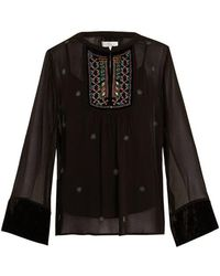Velvet By Graham & Spencer - Becky Embellished Chiffon Blouse - Lyst