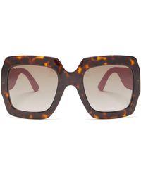 2e771cd12e Gucci - Glitter Temples Square Acetate Sunglasses - Lyst