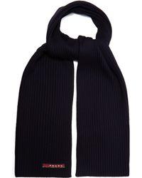 Prada - Ribbed Knit Wool Scarf - Lyst