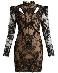Alexander McQueen - High-neck Cotton-blend Lace Dress - Lyst