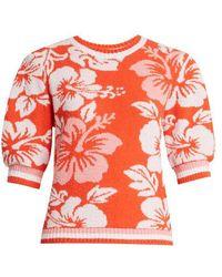MSGM - Hawaiian-print Terry-towelling Sweatshirt - Lyst