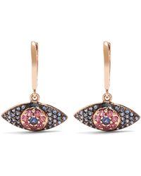 Ileana Makri - Open Eye 18kt Gold Sapphire & Rodolite Earrings - Lyst