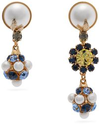 Erdem - Mismatched Crystal And Faux Pearl Drop Earrings - Lyst