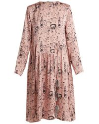 Shrimps - Heather Doodle-print Silk Dress - Lyst