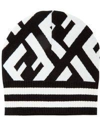 Fendi - Macro Ff Logo Beanie Hat - Lyst
