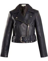 Diane von Furstenberg - Cropped Leather Biker Jacket - Lyst