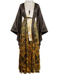 Adriana Iglesias - Anna Reversible Floral-print Stretch-silk Robe - Lyst