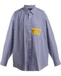 Martine Rose - Patch Appliqué Checked Cotton Shirt - Lyst