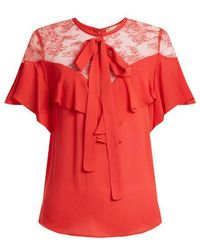 Elie Saab - - Round Neck Ruffle Silk Blend Top - Womens - Coral - Lyst