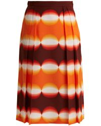 Marco De Vincenzo - Graphic-print Pleated Silk Skirt - Lyst