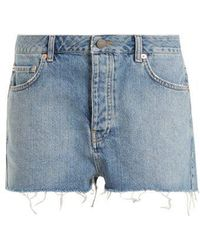 Raey - Hawaii Raw-cut Distressed Denim Shorts - Lyst
