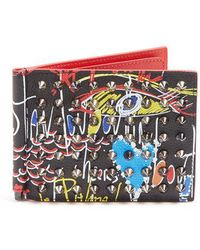 Christian Louboutin - Clipsos Spike-embellished Leather Wallet - Lyst