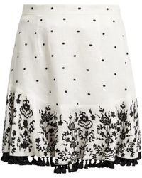 Zimmermann - Tali Embroidered Linen Skirt - Lyst