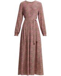 Weekend by Maxmara - Micro Floral Print Belted Silk Dress - Lyst