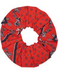 Ganni - Scarf Print Cotton Hair Scrunchie - Lyst