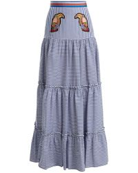 Stella Jean Tiered Striped Maxi Skirt