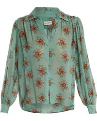 MASSCOB - Gathered Floral-print Silk Blouse - Lyst