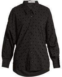 Palmer//Harding | Open-back Flocked Cotton-blend Shirt | Lyst