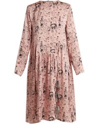 Shrimps | Heather Doodle-print Silk Dress | Lyst