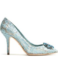 Dolce & Gabbana | Belluci Crystal-embellished Lace Pumps | Lyst