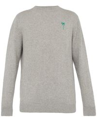 The Elder Statesman - Palm Tree Embroidered Cashmere Sweater - Lyst