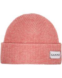 Ganni - Hatley Wool Blend Beanie Hat - Lyst