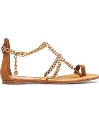 Gianvito Rossi - Chain Suede Flat Sandals - Lyst