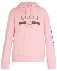 Gucci - Logo-print Cotton-jersey Hooded Sweatshirt - Lyst