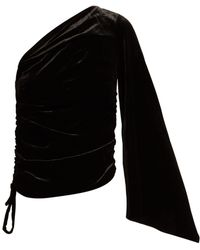 OSMAN - Nabela One Shoulder Velvet Top - Lyst