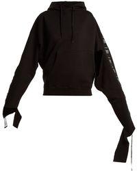 Vetements Hooded Tape Trimmed Sweatshirt - Black