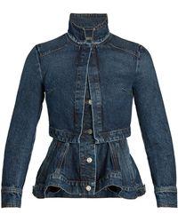 Alexander McQueen - Mandarin-collar Peplum Denim Jacket - Lyst