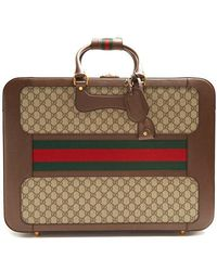 Gucci - Gg Supreme Canvas And Leather Suitcase - Lyst