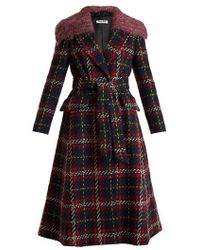 Miu Miu - Faux Shearling-trimmed Checked Wool-tweed Coat - Lyst