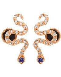 Ileana Makri - Diamond, Sapphire & Rose-gold Snake Earrings - Lyst