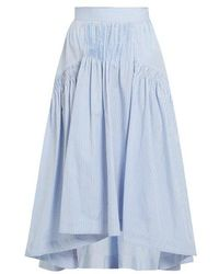 Teija - Smocked Dip-hem Striped Cotton Skirt - Lyst