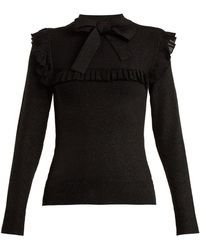 JoosTricot - Ruffle-trimmed Tie-neck Stretch-knit Sweater - Lyst