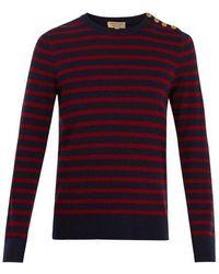 Burberry - Button-detail Striped Wool-blend Jumper - Lyst